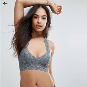 NWT FreePeople gray lace bralette size L